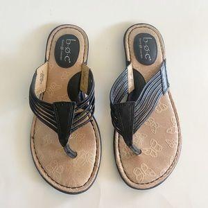 b.o.c. Born Concepts Black Faux Leather Sandals